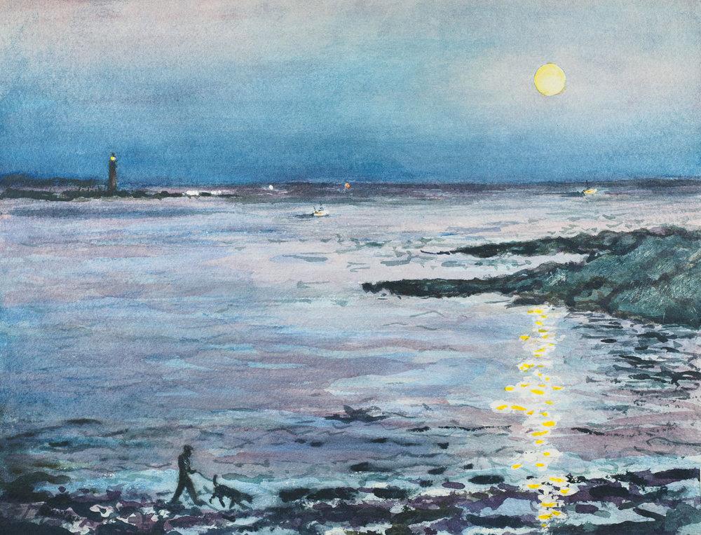 Moonrise at Ship Cove, Cape Elizabeth, Maine
