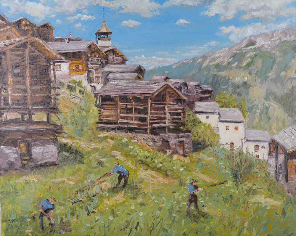 Gardeners in Grimentz, Switzerland