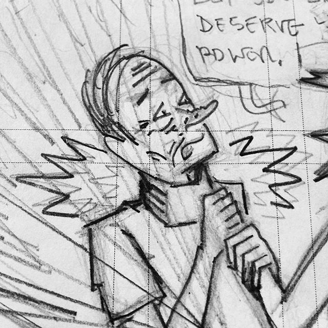 Gulp...Wu is having a bad night. #comics #cartoonist #cartooning #penciling
