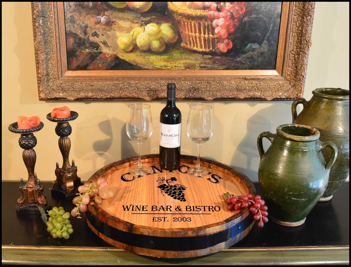 Wine Quarter Barrel Monogram Lazy Susan Personalized