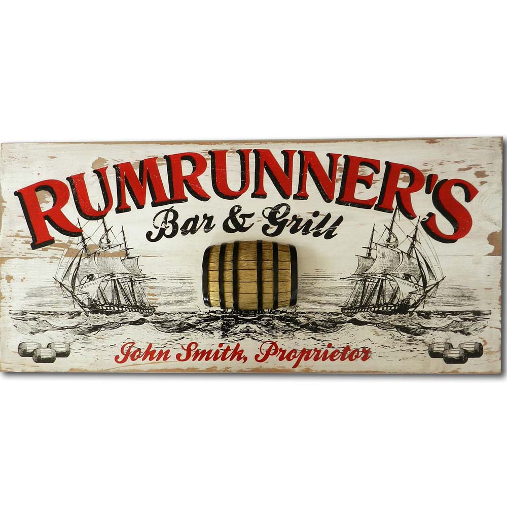 Rumrunner Vintage Wood Plank Sign