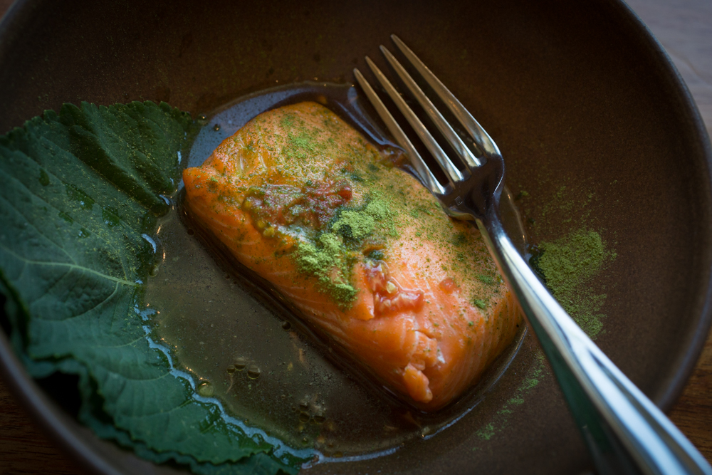 Chef Louis Maldonado's Smoked King Salmon. Photography by Julie Ann Fineman.