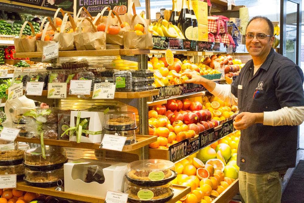 Sam Mogannam in the produce section of Bi-Rite Market.