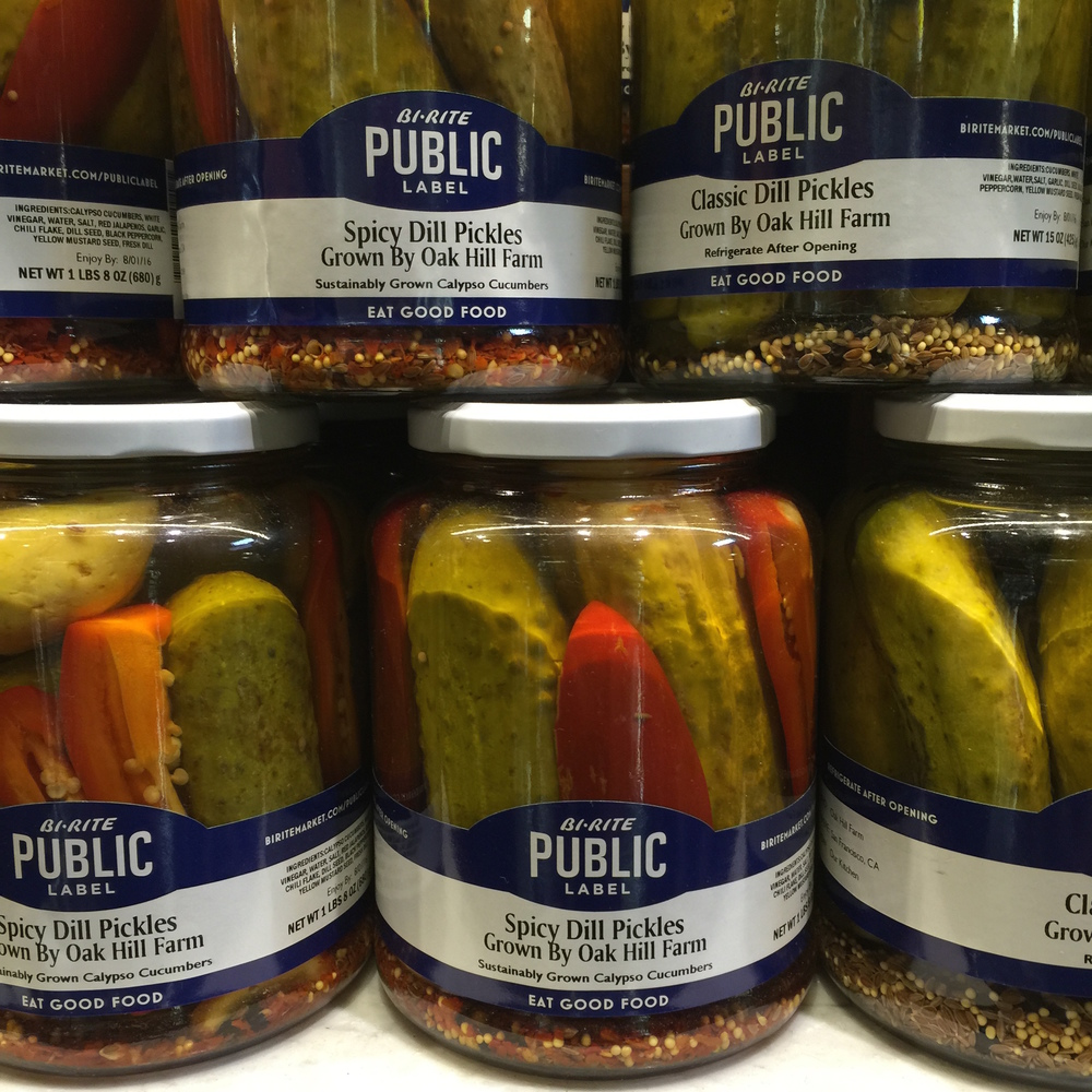 Public Label Pickles made with Calypso Cucumbers from Oak Hill Farm