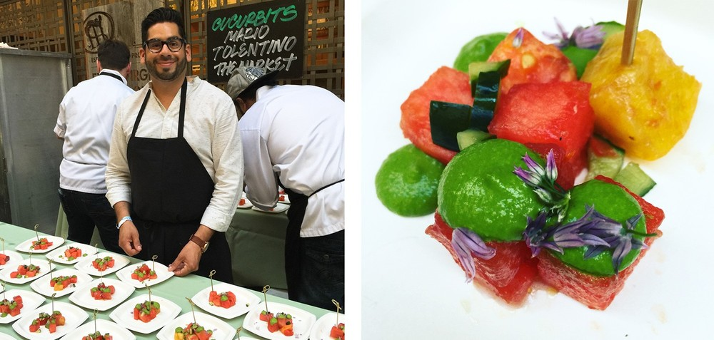 Chef Mario Tolentino of The Market created HEIRLOOM TOMATO & WATERMELON SALAD with Pickled Cucumber, Thai Basil & Shishito Peppers