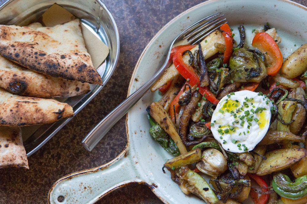 Burrata & verdure · from Puglia · wood-oven roasted vegetables · burrata · schiacciata all'olio