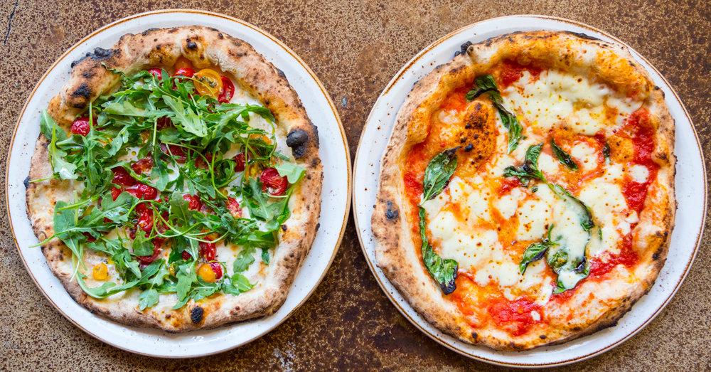 Pizza Estate · capay farm organic fresh cherry tomatoes · organic arugula · mozzarella di bufala · garlic | Margherita Pizza · organic san marzano dop crushed tomatoes · organic fior di latte mozzarella · organic Nicadado farm basil