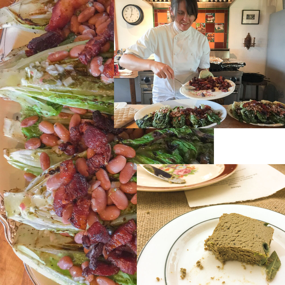 Chef Annie Goffin mounding lardon on the grilled romaine salad.  Lower rt: Casa Rossa Farm lamb pate