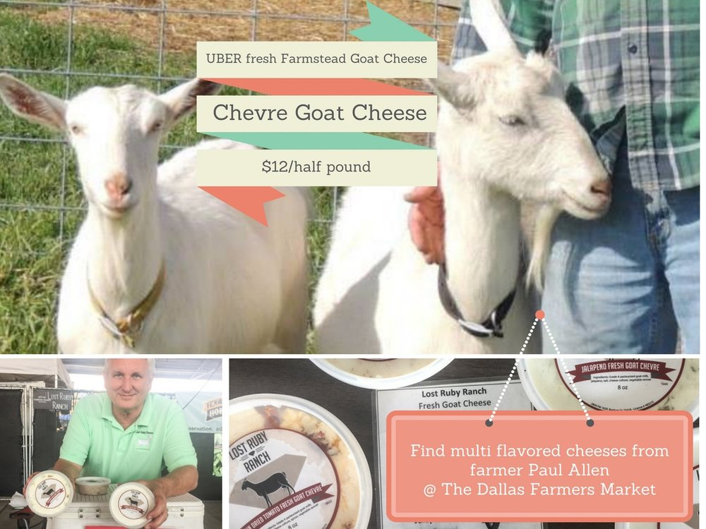 FARMER PAUL ALLEN OF LOST RUBY RANCH, BONHAM, TX, CAN ALSO BE FOUND AT the Cresent Farmers Market downtown Dallas, on the first Saturday of every month.  All cheeses available through mid December.