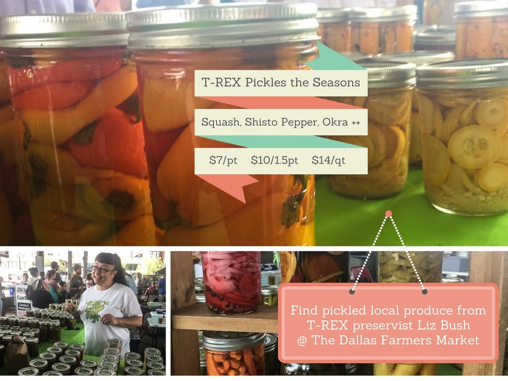 PRESERVIST LIZ & TRAVIS BUSH OF T-REX PICKLES, DALLAS, TX, CAN ALSO BE FOUND: Cox Farms Market on Fort Worth Avenue, Trinity Haymarket in the Design District, Empire Baking Company on Lovers Lane & Inwood, Market Provisions at the Dallas Farmers Market, Rooster Hardware on Northwest Highway, Scardello Cheese on Oak Lawn, Silver Star Mercantile Downtown Carrolton, Cox Farms Market on Main Street in Duncanville, Tyler Locations, The Grove.  T-Rex sources from Baugh Farms, Grow It Forward Farm, Bonton Farms.