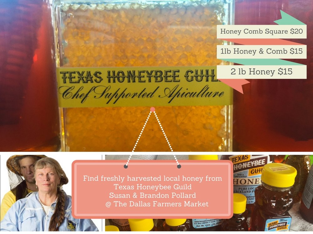BEESCAPERS SUSAN & BRANDON POLLARD, FOUNDERS OF THE TEXAS HONEYBEE GUILD.  Also found at Tyler Street, White Rock and Paul Quinn College Farmers Markets and  Central Market, prices vary.