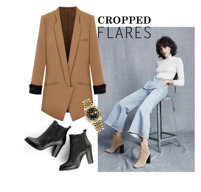 Image Credit -   Polyvore  .... Same jacket - wearing with denim cropped flares