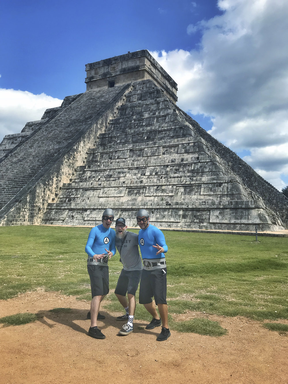 Bill was pretty geeked to run into the Aquabats at Chichen Itza!