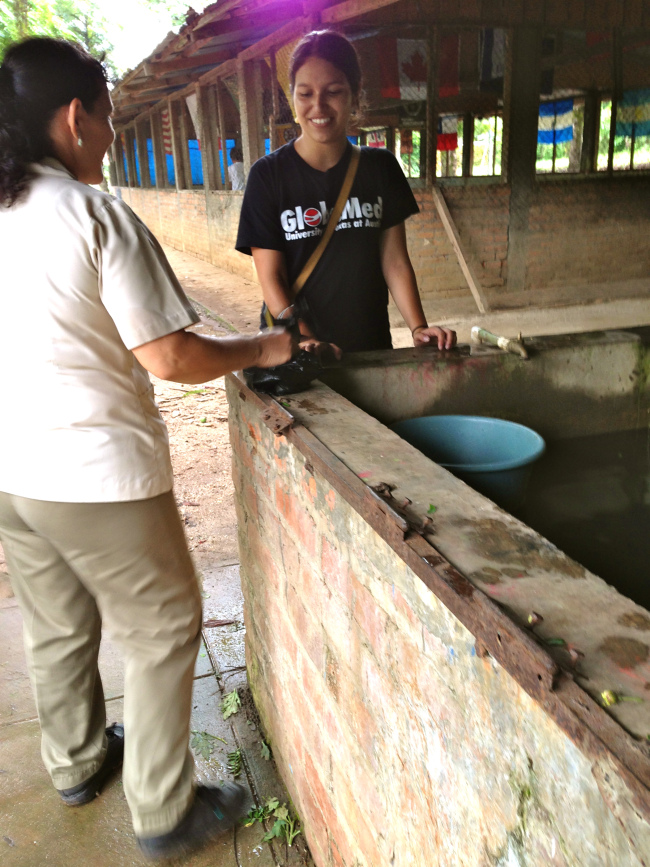 """A little FYI, pilas are the main water sources here. They are rectangular, concrete structures with faucets attached to them for refilling. We use them for showering, cleaning dishes, and washing laundry. The refilling schedule depends on the number of people in a household and the main preventative measure for """"zancudo"""" (mosquito) larvae is to clean the pilas with bleach before refilling them. Then the absolute last measure is to fumigate the area."""