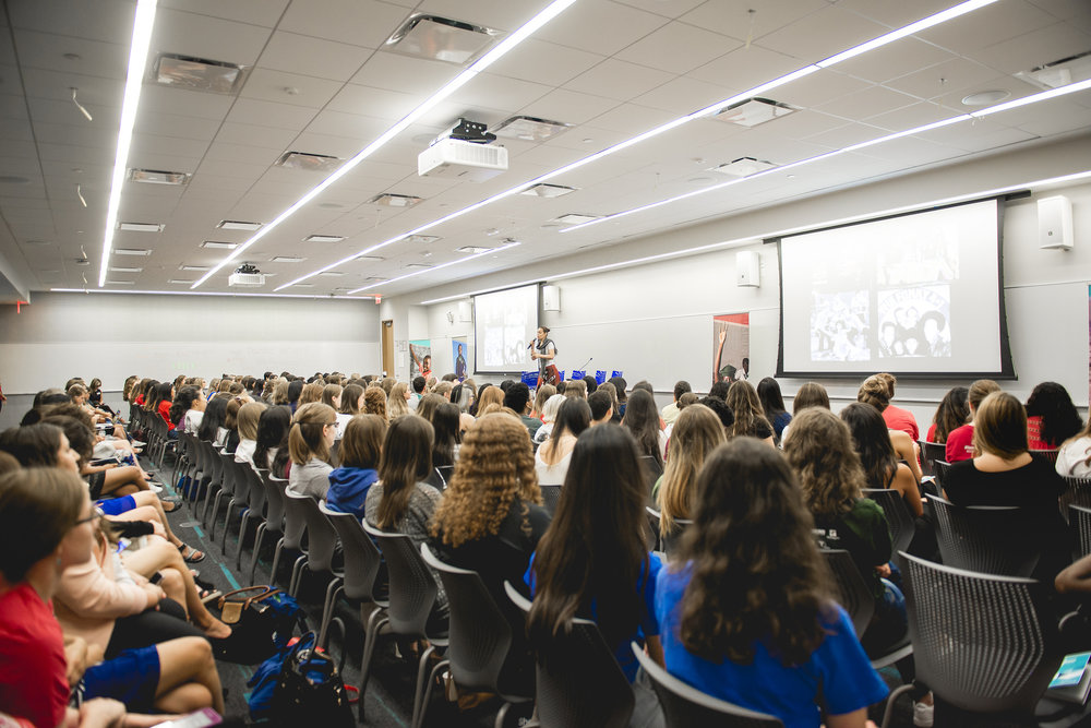 Martha Diaz presents 'Hip-Hop Feminism: Redefining Gender and Leadership Roles' at the 2016 #STFSummit. Two hundred high school and college students gathered at Microsoft headquarters in New York to participate in day one of the fifth annual She's the First Leadership Summit, Friday, August 5, 2016. (Photo by Logan Roquemore)