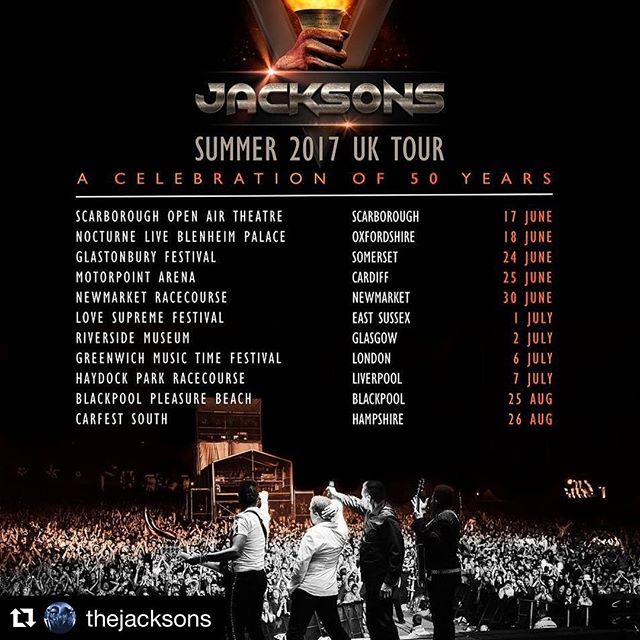 #Repost @thejacksons (@get_repost) ・・・ This summer we kick off our celebration of 50 years in music with our UK Tour. From Glastonbury to Glasgow and Greenwich, come out and rock with us this summer! Tickets & info on our official website: www.TheJacksons.live