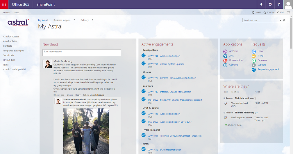 Shot of Astral's Sharepoint home page