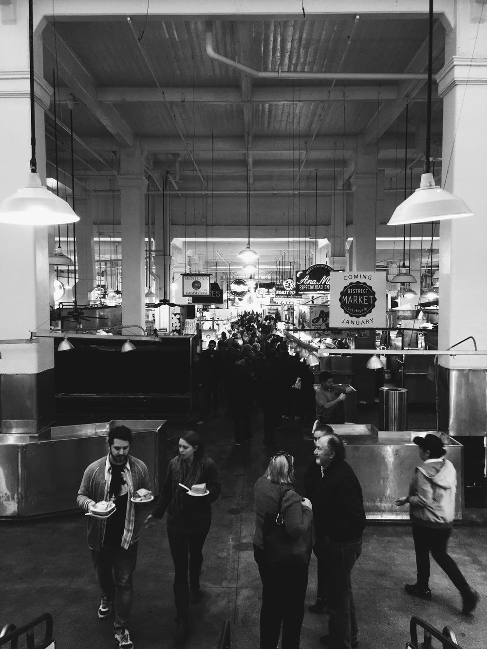 black and white downtown la grand central market