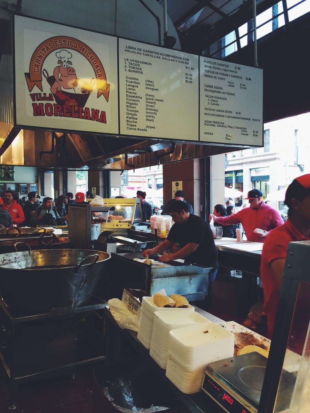 carnitas tacos at villa morelina grand central market dtla