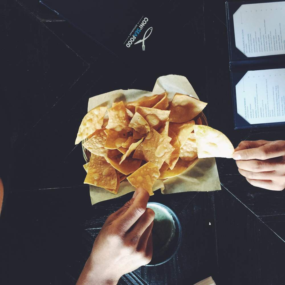 sampling chips and guacamole in inglewood