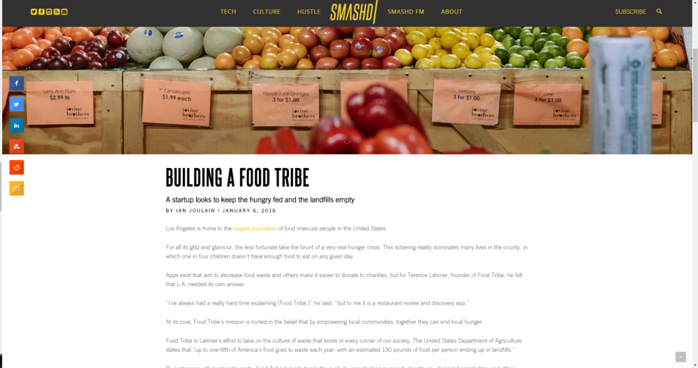 Food Tribe's first feature on Smashd.