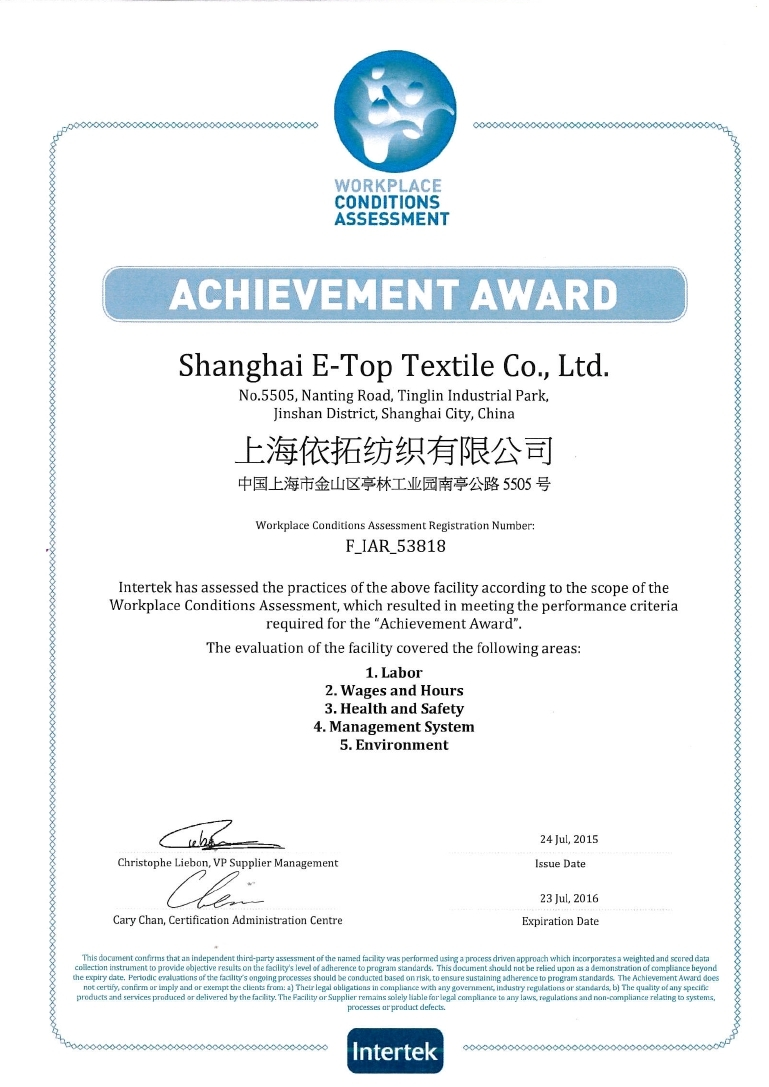 E-Top's WCA (Workplace Condition Assessment) Achievement Award, Assessed by Intertek (07/24/2015)