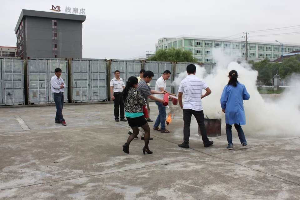 Workers learning about fire safety