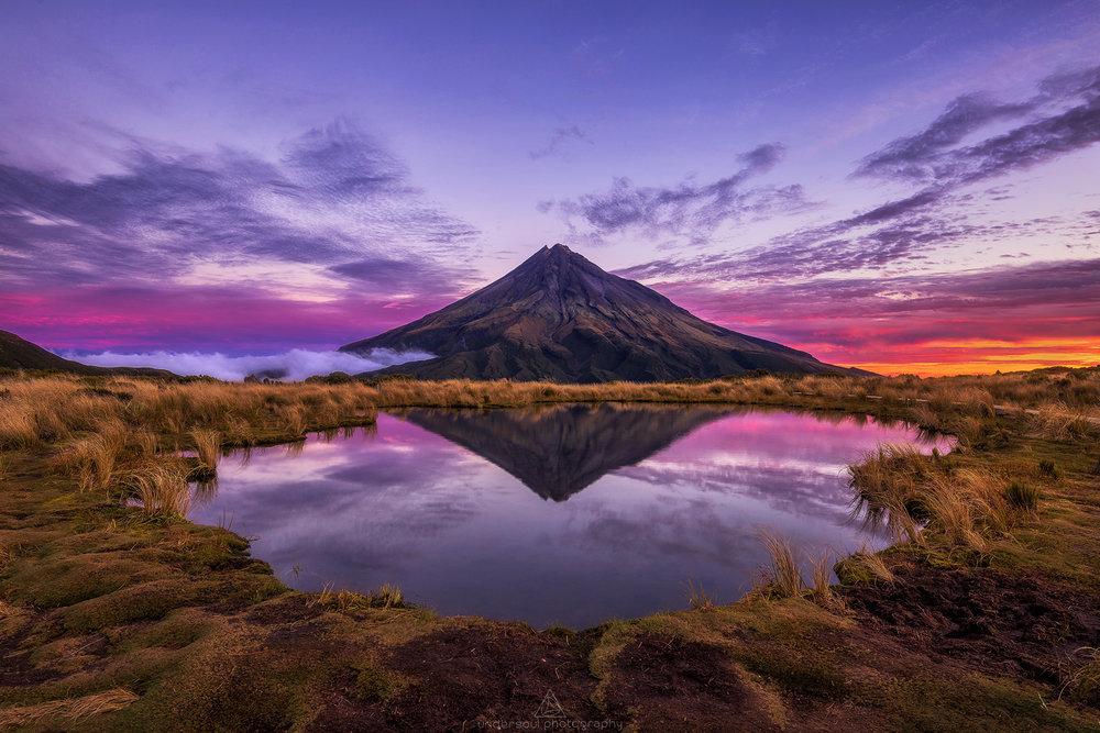 The famous tarn on the Pouakai Range, overlooking Mt Taranaki