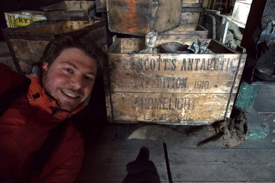 Self-portrait inside Robert Falcon Scott's Discovery Hut, built in 1902, and used for the British Antarctic Expeditions in 1901, 1907 and 1910.