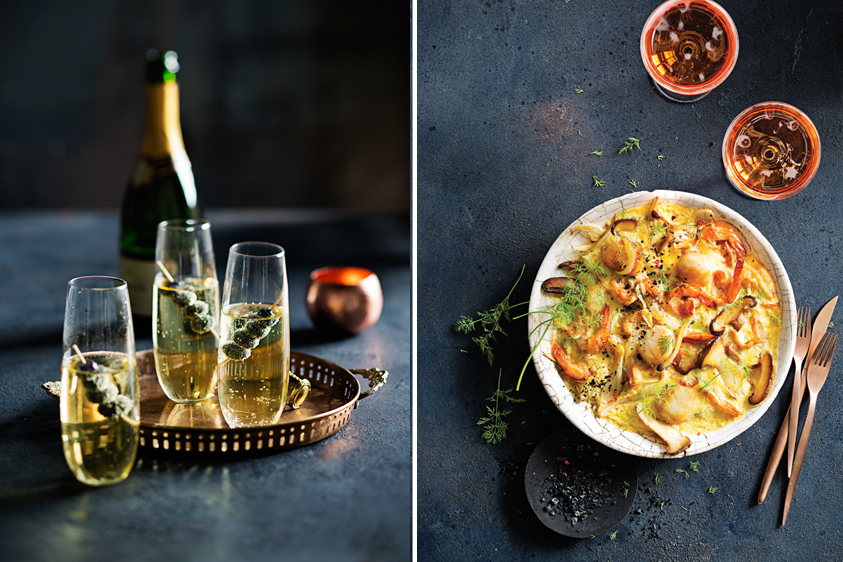 Left: A sip of bubbly always lifts our spirits.        Right: Seared Scallops & Prawns with Garlic Sabayon