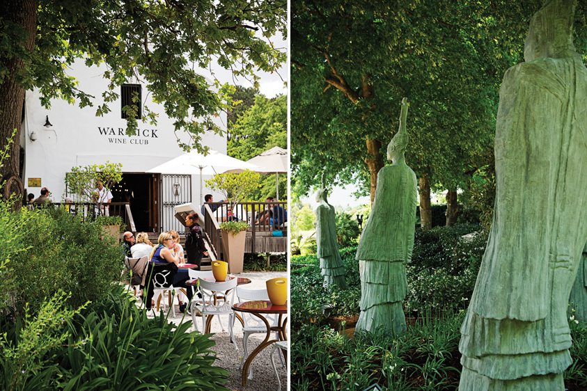 Left: A taste of the outdoors. Right: Sculptures nestled in the gardens, Delaire Graff