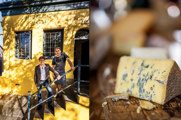 Left: Jean-Vincent Ridon and Luke Williams outside Culture Club Cheese, ready for an afternoon of fine cheese and wine pairing. Right: Wild cheese-making at its best