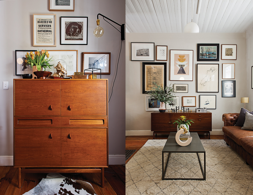 Left: A series of black and white artworks sit above the teak McIntosh cabinet. Right: The couple's art wall greets guests as they arrive.