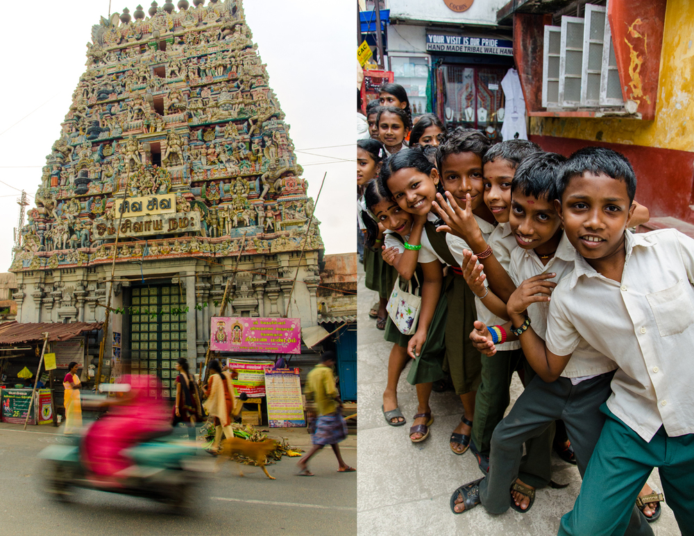 A colourful Hindu temple in Puducherry and friendly school kids in Kochi