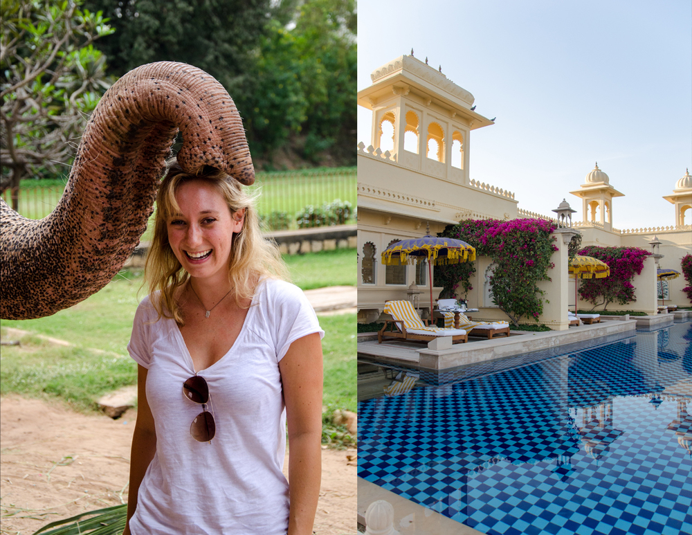 Sarah get an elephant blessing in Tamil Nadu and the Luxury at The Oberoi Udaivilas in Udaipur