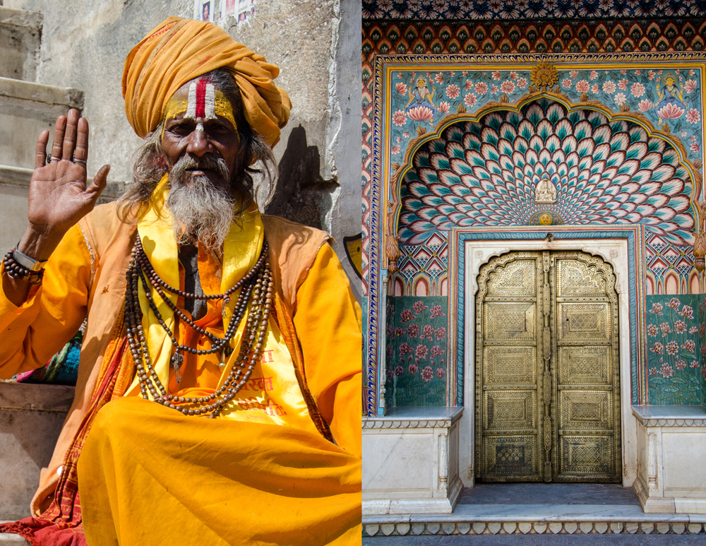 A Sadhu (Holy man) in Udaipur and one of the beautiful doors in Jaipur's Amer Fort