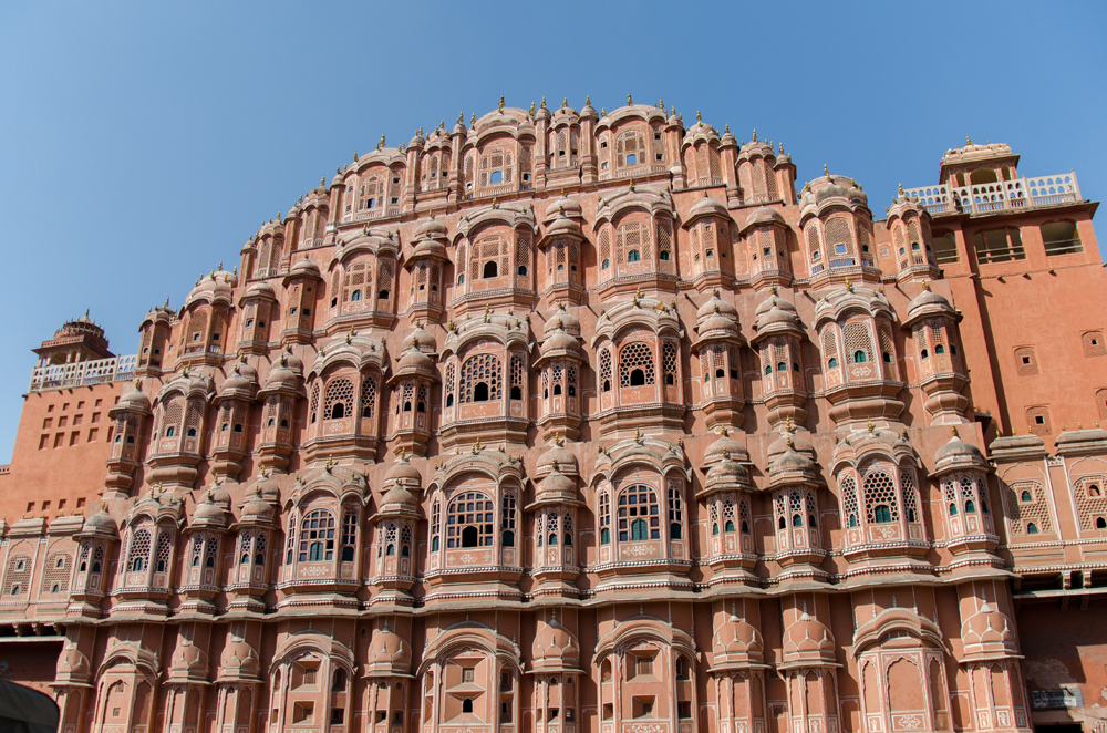 The Unusual facade of the Hawa Mahal (Palace of Winds) in Jaipur