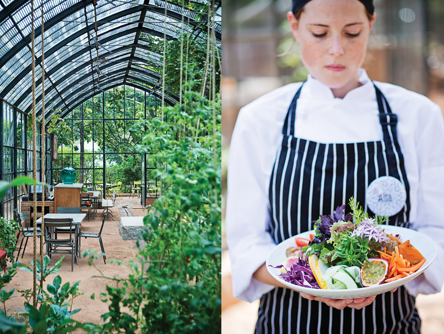 Left: The Greenhouse area will make your day. Right: How's that for a fresh garden salad?