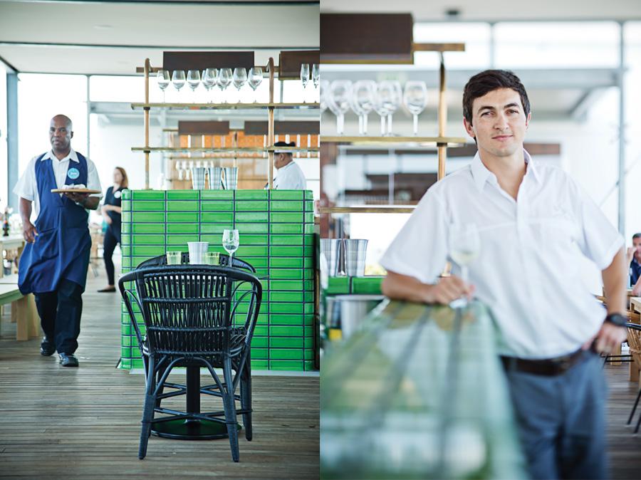 Left: The tasting room's fresh and green look. Right: Winemaker, Klaas Stoffberg