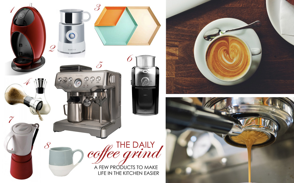 1. DeLonghi Nescafe Dolce Gusto Jovia Capsule Coffee Machine R1299, Dolce Gusto.2. Severin Induction Milk Frother White R1670, Banks Kitchen Boutique.3. Kaleido trays POA, Crema.4. Eva Solo Milk & Sugar Set R678.30, Banks Kitchen Boutique.5. Breville Barista Express R7499, @Home.6. Krups Burr Coffee Grinder R691, Bean There.7. Aerolatte Espresso Pot Red, R391, Banks Kitchen Boutique. 8. Colour block coffee mug R99, Poetry