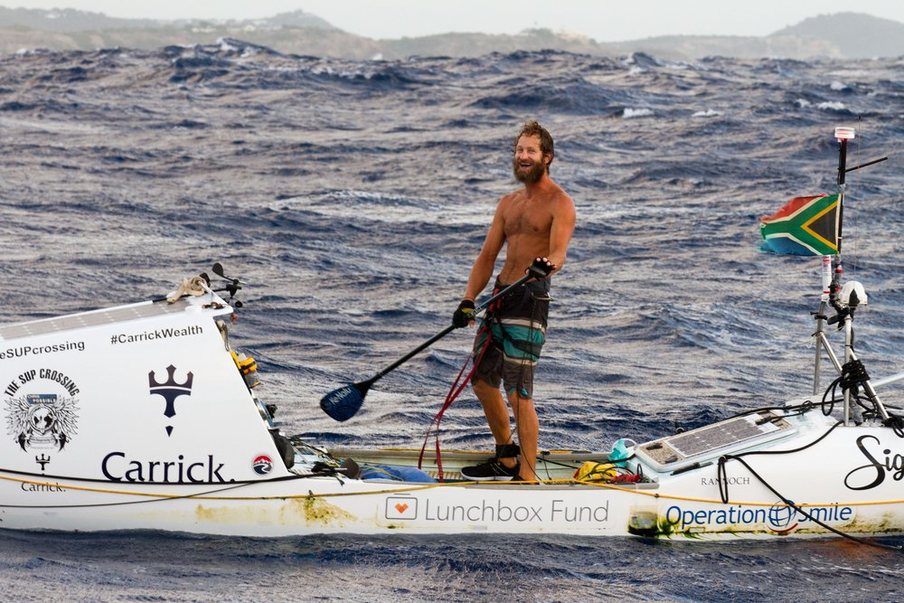 Chris Bertish completed the first, solo, unsupported Transatlantic SUP Crossing