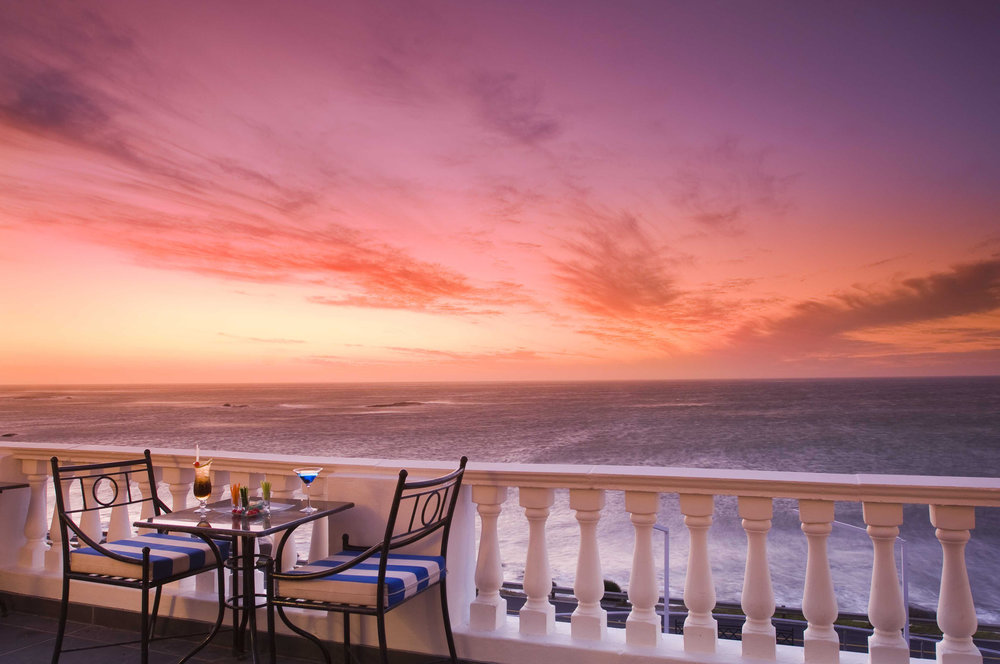 Beautiful view of the sunset from the terrace of the Twelve Apostles Hotel & Spa.