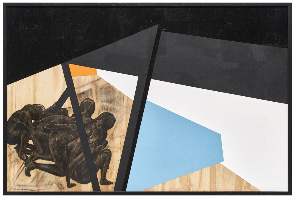 Serge Alain Nitegeka, Mass II, 2017, paint and charcoal on wood, 60 x 90 x 2.5cm