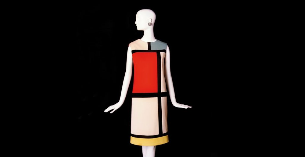 Hommage to Piet Mondrian, Yves Saint Laurent (French, 1936–2008), cocktail dress. Fall-Winter 1965 haute couture collection.