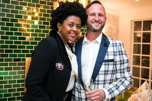 Business mogul Basetsana Kumalo and Fairlawns Boutique Hotel Managing Director, Michael Kewley, at one of the official launches of the hotel's brand new Perrier-Jouët boutique champagne room, MUSE