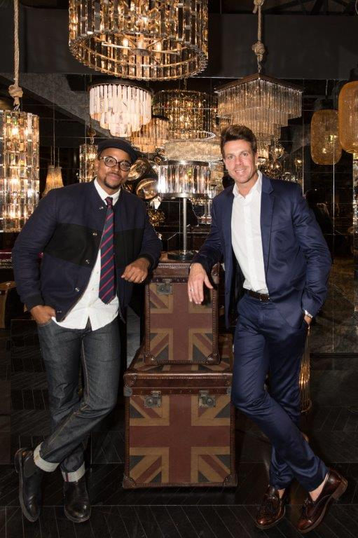 Maps Maponyane and Tim Culley  marketing director at the Timothy Oulton gallery launch at Weylandts Fourways