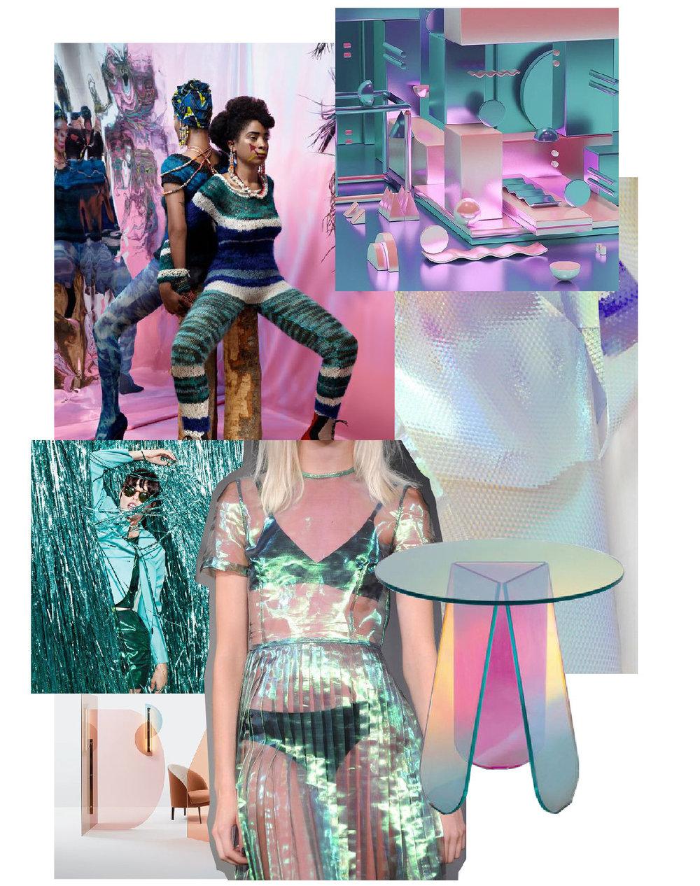 From left, clockwise: NAMSA LEUBA , 3dfordesigners.com , Berta Fischer , Shimmer tavoli - Glas Italia , Last Dance Holographic Dress , Vela Paravent from Arflex , designlovefest