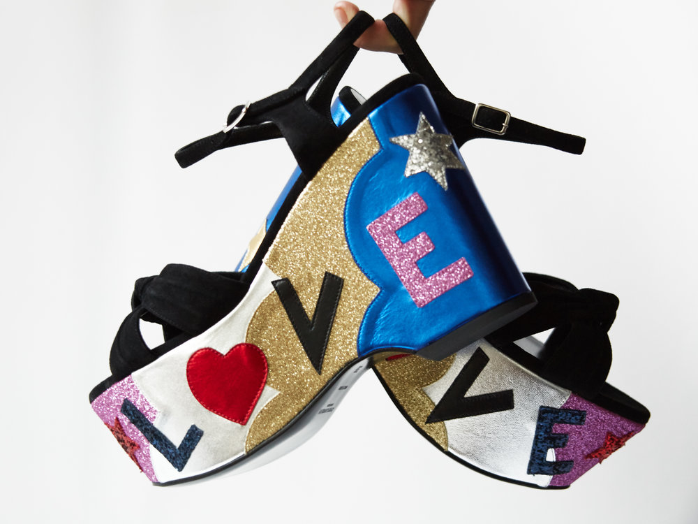 YSL Candy Suede & Leather Platform Sandals