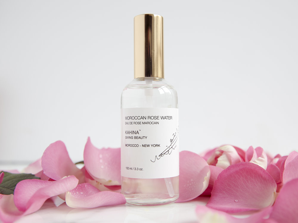 Kahina giving beauty rose water