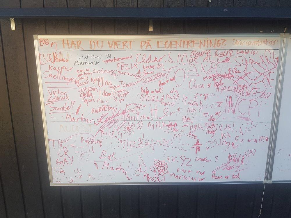 Her er en oversikt over alle spillere som har trent egentrening, og skrevet seg seg opp på tavlen. Tavlen finner dere på veggen til garderobene mellom Kgb 1 og Kgb 2